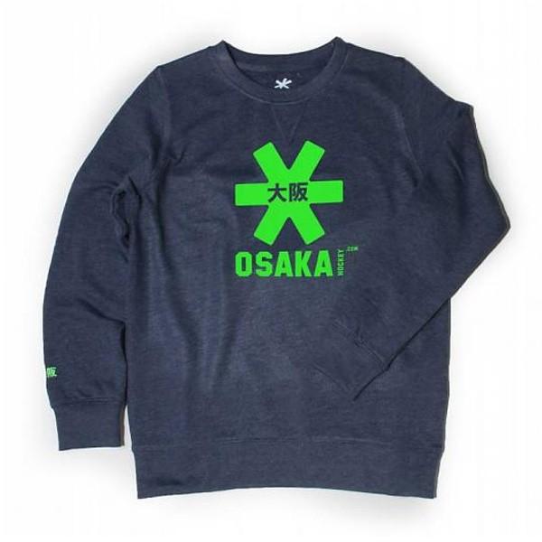 CLKSWSTA-NME-GREEN Osaka Trui Deshi Sweater Navy Melange Green Logo